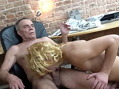 Old man enjoys young twink sucking his dick hard
