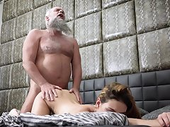 Bearded grandpa fucks Maya Crush in hardcore