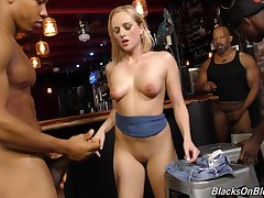Interracial gangbang at unlit club with PAWG blonde harlot Kate England