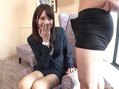Slender Japanese amateur gives a footjob and gets fucked in the office