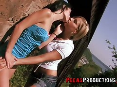 Horn-mad girls use vaginal beads everywhere pet shaved pussies outdoors