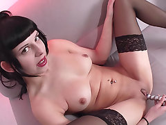 Amateur German cutie plays with her glabrous pussy