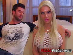 Professional hooker Lexxxy Belle gets a mouthful of sperm after hardcore pussy pounding