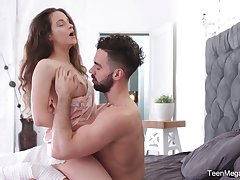 Charming babe Mickey Moor gets a bite of sperm after passionate sexual connection concerning the morning