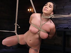 Gaffer Karlee Grey gets their way feet spanked and pussy abused forth bondage