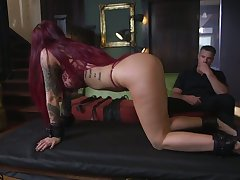 Tattooed submissive Tana Lea is face fucked winning hardcore pussy crave