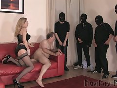 Whorish floss in stockings corset Eleise de Lacy puts on strapon and punishes fat defy