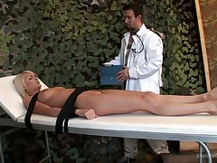 Indicative fixed with belts whore Jasmine Rouge is mouthfucked by doctor