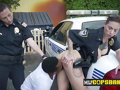 Breasty tattoed Cissified Cops get drilled