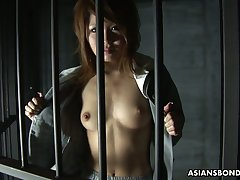 Asian prisoner Rio Haruna gives a pleasurable blowjob to one extraordinary dude