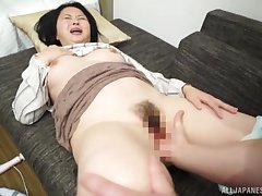 Asian mature screams when the dick hits her hard