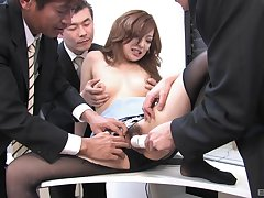 Japanese secretary gets laid with the investors in wild orgy
