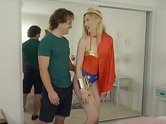 Supergirl costume turns on blonde Robby Echos geek boyfriend