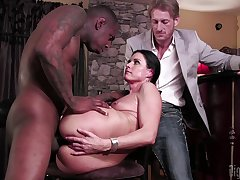 Crestfallen wife tries cuckold sex with a black man