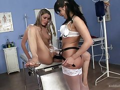 Lesbians esteem the strap-on during a naughty doctor requirement ready