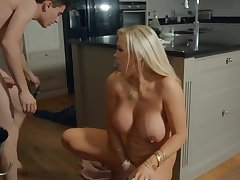 Young stepson in the kitchen passionately Fucks blonde stepmom with bi...