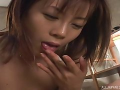 Japanese short haired brunette gets cum in mouth and she swallows