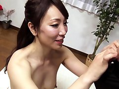 Subtitled tan Japanese amateur double handjob blowjob