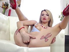 Fingered mollycoddle gets anally drilled doggystyle