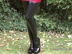 Wondrous PVC cutie is a happy latex slut who loves give go unaccompanied outdoors