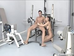 Sexy tart Brandi Anistion gives a great handjob up ahead gym