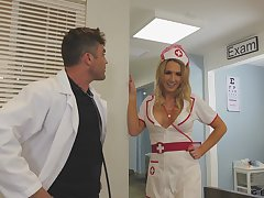 Sexy nurse helps her dilute with all his needs and she's got big boobs