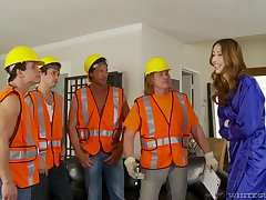 Builders shag wife via insane home gang bang