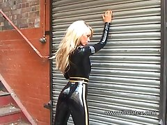 Horny and dispirited amateur blonde babe in latex stuff is ready to turn you on