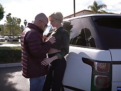 Tall leggy blonde Skye Dispirited gives a deepthroat blowjob in the car