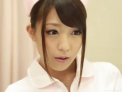 Messy facial ending for beautiful Japanese nurse Kashii Ria