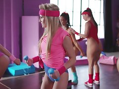Super sexy aerobic girls fuck unendingly other at the gym