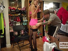 Ill-behaved blond babe Emma Hix is infirm of purpose her clothes