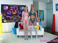 SWALLOWED Cum stimulated Rebel and Lana swallow it on all sides