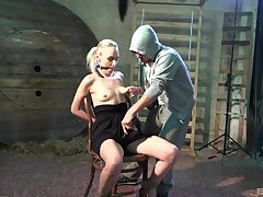 Obedient blonde gets her dose of harsh porn and sperm on tits