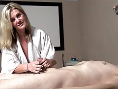Busty MILF Heather C Payne massaging added to blowing a fat cock