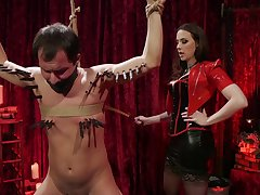 Opprobrious toff tied up and gets his pain in the neck stretched by Chanel Preston