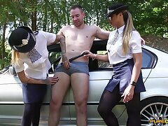 Hoax female cops market garden a big dick during a accustomed traffic cessation in custody