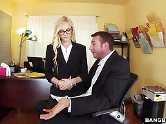 Nerdy office blonde leaves the hot bigwig fuck the brush in the ass