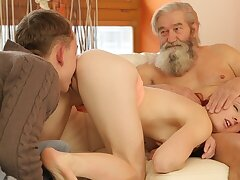 DADDY4K. Boy and his bearded inventor friend to punish